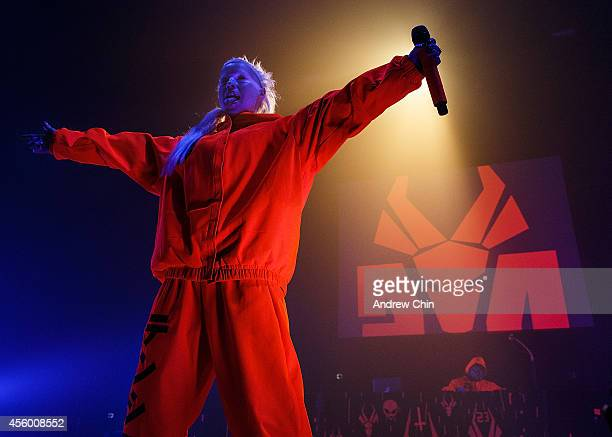 YoLandi Vi$$er of Die Antwoord performs on stage at PNE Forum on September 23 2014 in Vancouver Canada