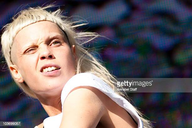 YoLandi Vi$$er of Die Antwoord performs on stage during the second and last day of LED Festival at Victoria Park on August 28 2010 in London England