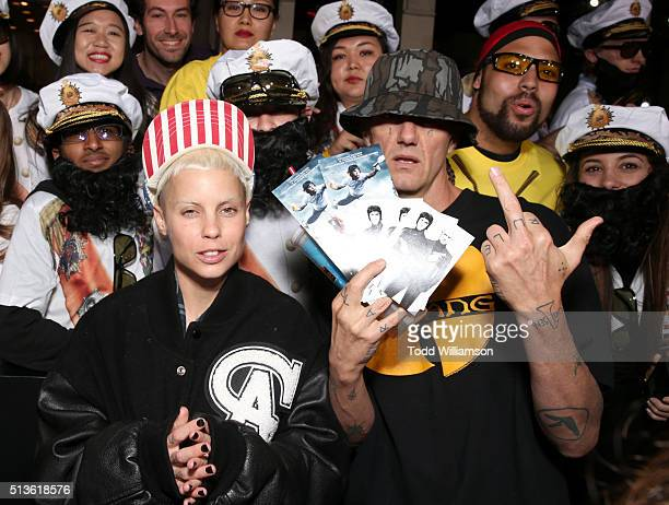 Yolandi Visser and Ninja of Die Antwoord attend the premiere of Columbia Pictures and Village Roadshow Pictures 'The Brothers Grimsby' at Regency...