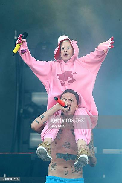 Yolandi Visser and Ninja of Die Antwoord perform in concert during the Austin City Limits Music Festival at Zilker Park on October 7 2016 in Austin...