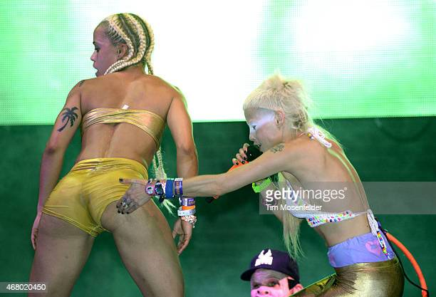 Yolandi Visser of Die Antwoord performs during the Ultra Music Festival at Bayfront Park Amphitheater on March 28 2015 in Miami Florida