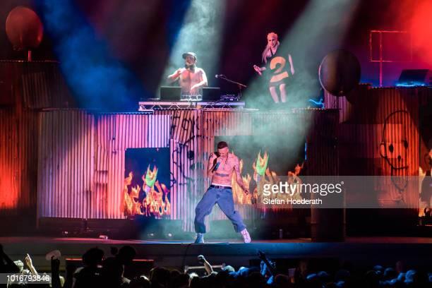 Yolandi Visser of Die Antwoord performs live on stage at Parkbuehne Wuhlheide on August 14 2018 in Berlin Germany