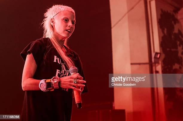 Yolandi Visser of Die Antwoord performs on stage at Brixton Academy on June 22 2013 in London England