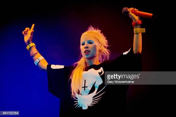 Yolandi Visser of Die Antwoord performs on stage at Leeds Festival at Bramham Park on August 24 2014 in Leeds United Kingdom