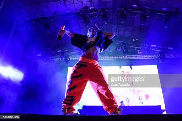 Yolandi Visser of Die Antwoord performs on stage at Mad Cool Festival on June 17 2016 in Madrid Spain