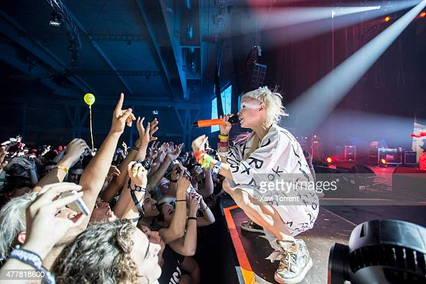 Yolandi Visser of Die Antwoord performs on stage during day 2 of Sonar Music Festival on June 19 2015 in Barcelona Spain