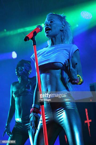 Yolandi Visser of Die Antwoord performs onstage at The Other Tent during day 2 of the 2014 Bonnaroo Arts And Music Festival on June 13 2014 in...