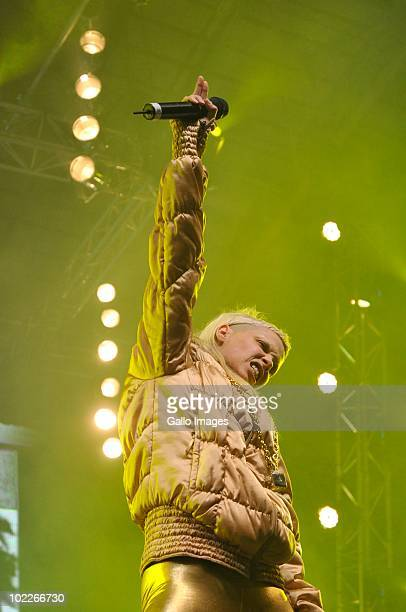 Yolandi Visser of South African band Die Anwoord performs at a concert held at the Cape Town Convention Centre , after Bafana's loss against Uruguay...