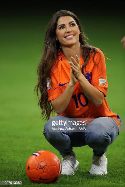 Yolanthe Sneijder, the wife of Wesley Sneijder of the Netherlands during a presentation marking his last ever game for the Netherlands...