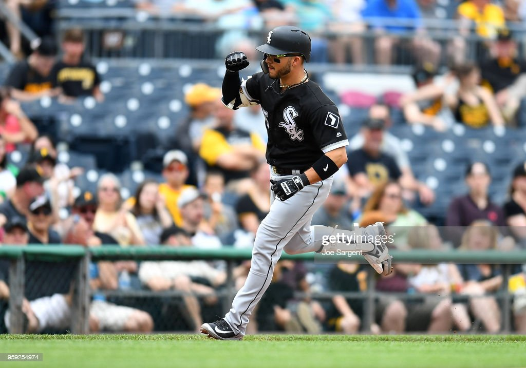 Yolmer Sanchez #5 of the Chicago White Sox celebrates his solo home run in the fifth inning against the Pittsburgh Pirates during inter-league play at PNC Park on May 16, 2018 in Pittsburgh, Pennsylvania.