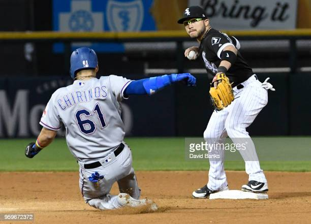 Yolmer Sanchez of the Chicago White Sox forces out Robinson Chirinos of the Texas Rangers at second base during the fifth inning on May 17 2018 at...