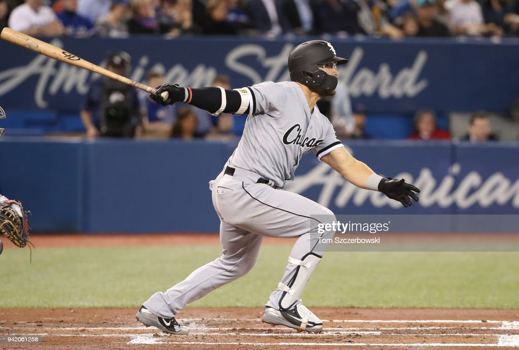Yolmer Sanchez #5 of the Chicago White Sox hits a double in the second inning during MLB game action against the Toronto Blue Jays at Rogers Centre on April 4, 2018 in Toronto, Canada.