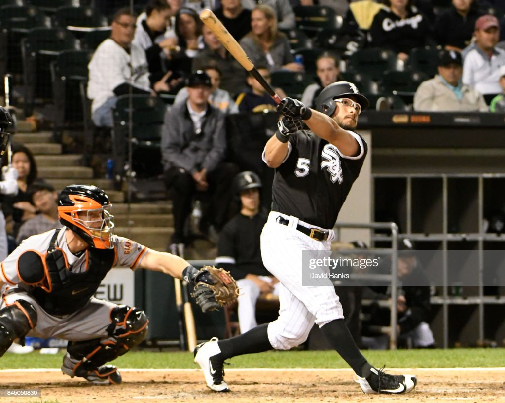 Yolmer Sanchez #5 of the Chicago White Sox hits a three-run homer against the San Francisco Giants during the fourth inning on September 9, 2017 at Guaranteed Rate Field in Chicago, Illinois.