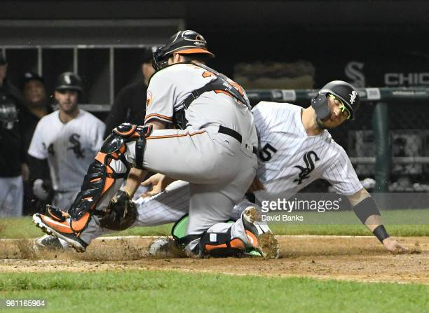 Yolmer Sanchez of the Chicago White Sox is tagged out at home plate Andrew Susac of the Baltimore Orioles during the fifth inning on May 21 2018 at...