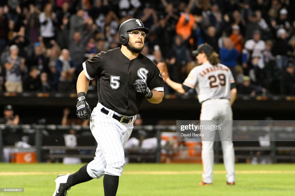 Yolmer Sanchez #5 of the Chicago White Sox runs the bases after hitting a three-run homer against the San Francisco Giants during the fourth inning on September 9, 2017 at Guaranteed Rate Field in Chicago, Illinois.