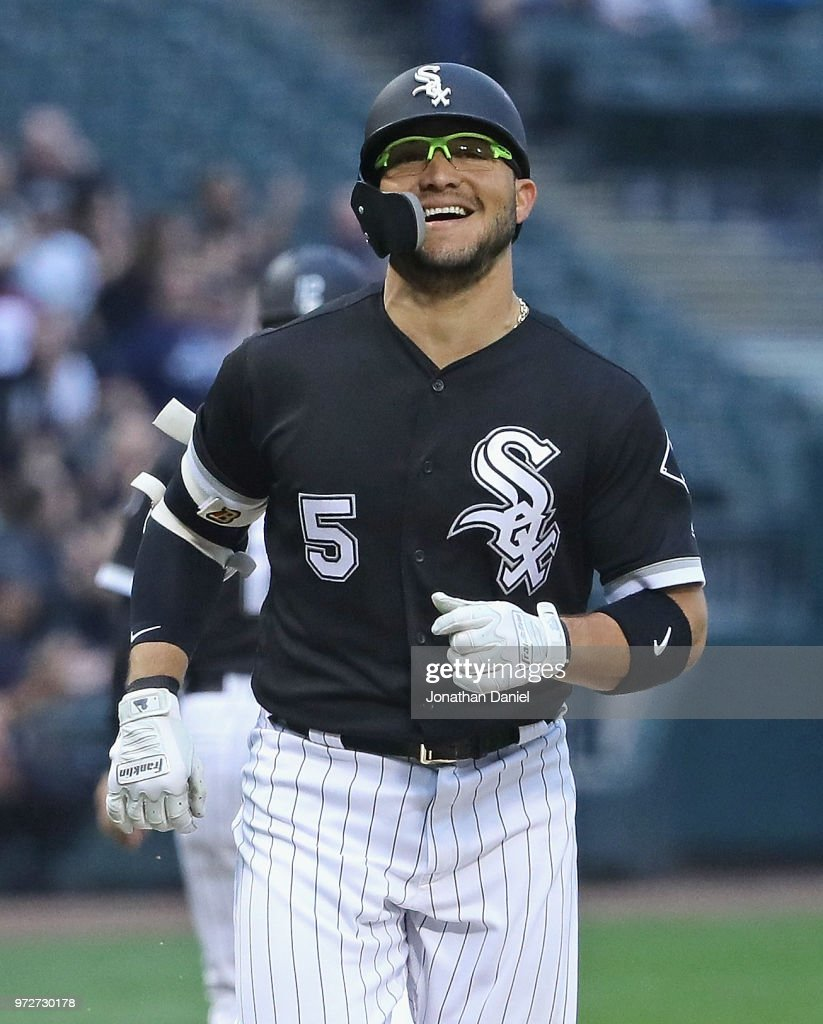 Yolmer Sanchez #5 of the Chicago White Sox smiles as he runs the bases after hitting a solo home run in the 1st inning against the Cleveland Indians at Guaranteed Rate Field on June 12, 2018 in Chicago, Illinois.