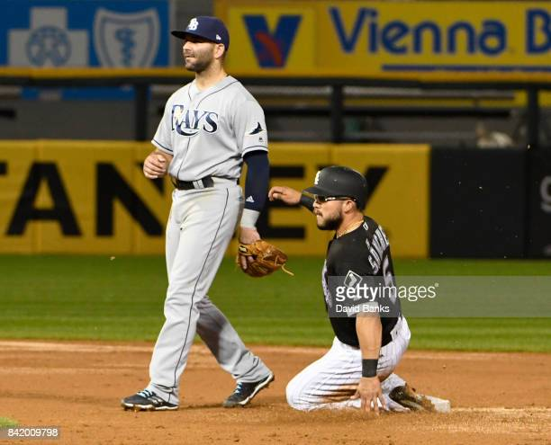 Yolmer Sanchez of the Chicago White Sox steals second base as Danny Espinosa of the Tampa Bay Rays stands nearby during the fifth inning on September...