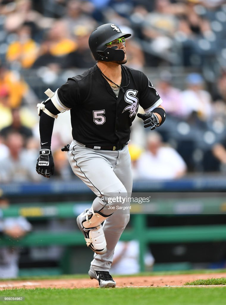 Yolmer Sanchez #5 of the Chicago White Sox watches his solo home run in the fifth inning against the Pittsburgh Pirates during inter-league play at PNC Park on May 16, 2018 in Pittsburgh, Pennsylvania.