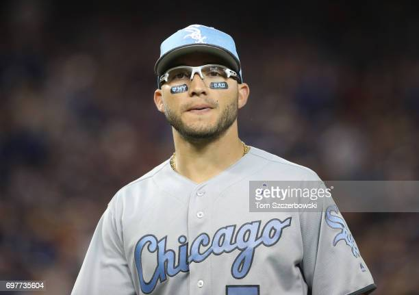 Yolmer Sanchez of the Chicago White Sox wears eye black with a message on Fathers Day during MLB game action against the Toronto Blue Jays at Rogers...
