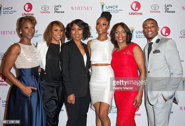 Yolonda Ross Deborah Cox Angela Bassett Yaya DaCosta Suzzanne Douglas and Arlen Escarpeta arrive at the Premiere Of Lifetime's Whitney at The Paley...