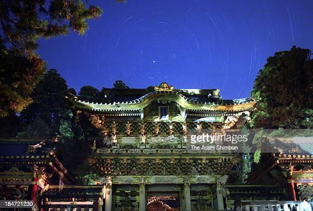 Yomeimon Gate of Nikko Toshogu is seen under starly night sky on May 14 2007 in Nikko Tochigi Japan