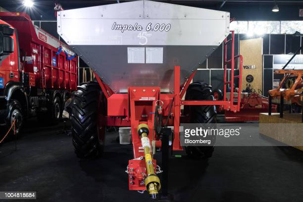 A Yomel SA Impala 6000 seed and fertilizer spreader sits on display at the exhibition pavilion during La Exposicion Rural agricultural and livestock...