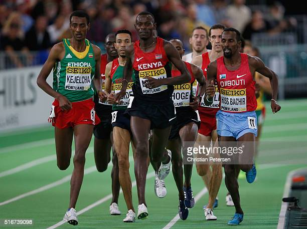 Yomif Kejelcha of Ethiopia Isiah Kiplangat Koech of Kenya and Youssouf Hiss Bachir of Djibouti compete in the Men's 3000 Metres Finalduring day four...