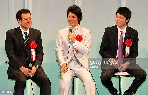 Yomiuri Giants and Japan baseball national team head coach Tatsunori Hara professional golfer Ryo Ishikawa and Yomiuri Giants infielder Hayato...