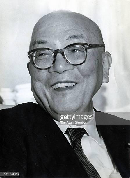 Yomiuri Shimbun Owner Matsutaro Shoriki speaks during the Asahi Shimbun interview in June 1959 in Tokyo Japan