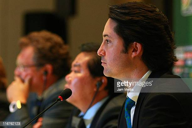 Yon de Luisa Tournament Director Loc during the press conference to announce the start of the FIFA U17 World Cup Mexico 2011 on June 16 2010 in...