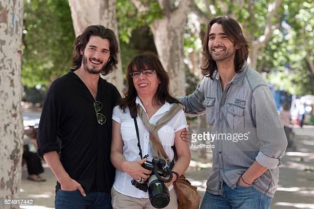"""Yon Gonz��lez actors and Aitor Luna , presentation of the movie """"Killing time"""" on May 27, 2015 in the square of Spain in Madrid."""