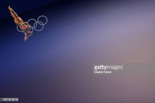 Yona Knight-Wisdom of Team Jamaica competes in the Men's 3m Springboard Preliminary Round on day ten of the Tokyo 2020 Olympic Games at Tokyo...
