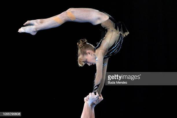 Yonatan Fridman and Noa Kazado Yakar of Israel participate in Acrobatic Gymnastics Mixed Pair Final at Youth Olympic Park on October 15 2018 in...
