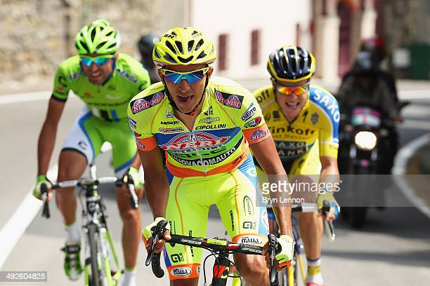 Yonathan Monsalve of Venezuela and Neri SottoliYellow Fluo rides in the breakaway during the eleventh stage of the 2014 Giro d'Italia a 249km medium...