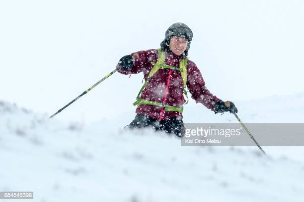 Yonca Krahn testing parts of the track for The Arctic Triple Lofoten Skimo the day before the race on March 17 2017 in Svolvar Norway The Arctic...