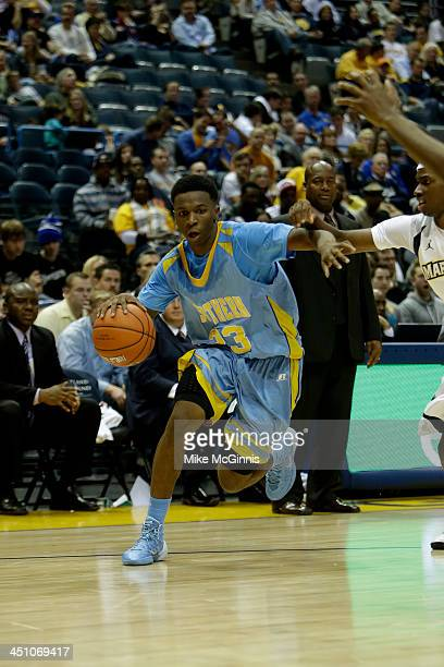 Yondarius Johnson of the Southern Jaguars drives to the hoop during the game against the Marquette Golden Eagles at BMO Harris Bradley Center on...