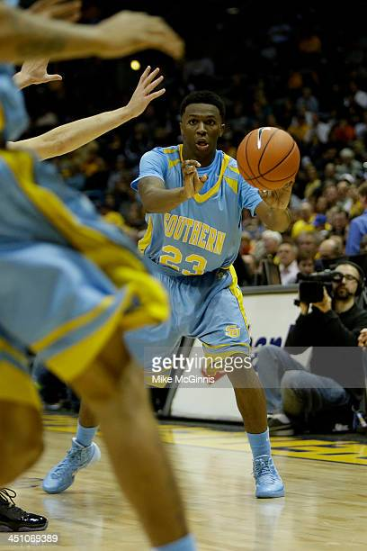 Yondarius Johnson of the Southern Jaguars passes the basketball during the game against the Marquette Golden Eagles at BMO Harris Bradley Center on...