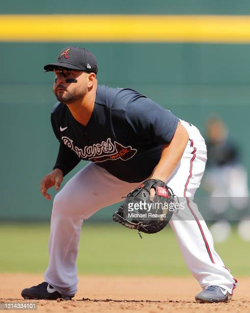 Yonder Alonso of the Atlanta Braves in action against the Houston Astros during a Grapefruit League spring training game at CoolToday Park on March...