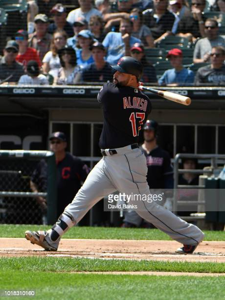 Yonder Alonso of the Cleveland Indians bats against the Chicago White Sox on August 12 2018 at Guaranteed Rate Field in Chicago IllinoisThe Indians...