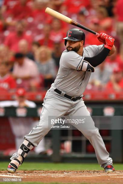 Yonder Alonso of the Cleveland Indians bats against the Cincinnati Reds at Great American Ball Park on August 14 2018 in Cincinnati Ohio