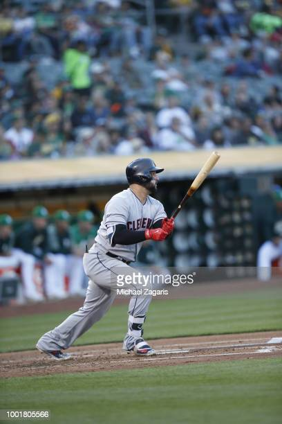 Yonder Alonso of the Cleveland Indians bats during the game against the Oakland Athletics at the Oakland Alameda Coliseum on June 29 2018 in Oakland...