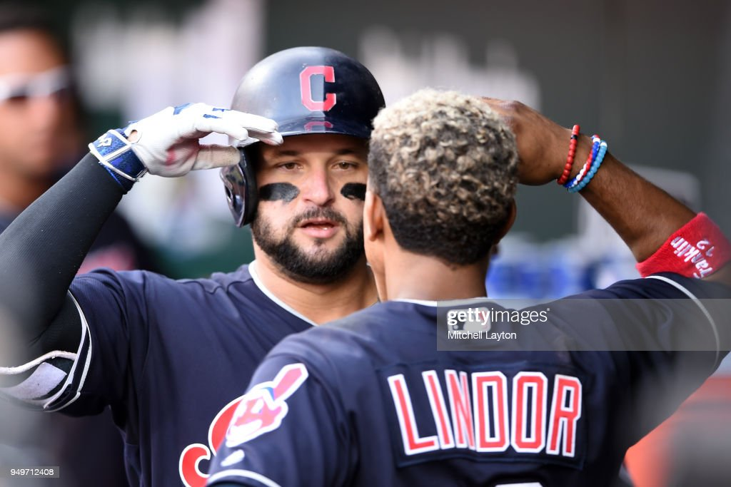 Yonder Alonso #17 of the Cleveland Indians celebrates hitting a solo home run in the sixth inning with Francisco Lindor #12 during a baseball game against the Baltimore Orioles at Oriole Park at Camden Yards on April 21, 2018 in Baltimore, Maryland.
