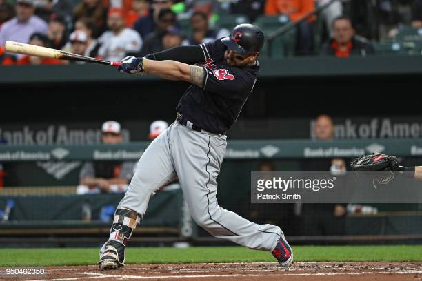 Yonder Alonso of the Cleveland Indians hits a a tworun home run during the second inning against the Baltimore Orioles at Oriole Park at Camden Yards...