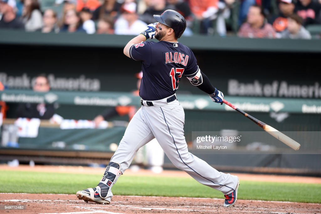 Yonder Alonso #17 of the Cleveland Indians hits a solo home run in the sixth inning during a baseball game against the Baltimore Orioles at Oriole Park at Camden Yards on April 21, 2018 in Baltimore, Maryland.