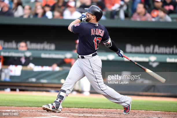 Yonder Alonso of the Cleveland Indians hits a solo home run in the sixth inning during a baseball game against the Baltimore Orioles at Oriole Park...