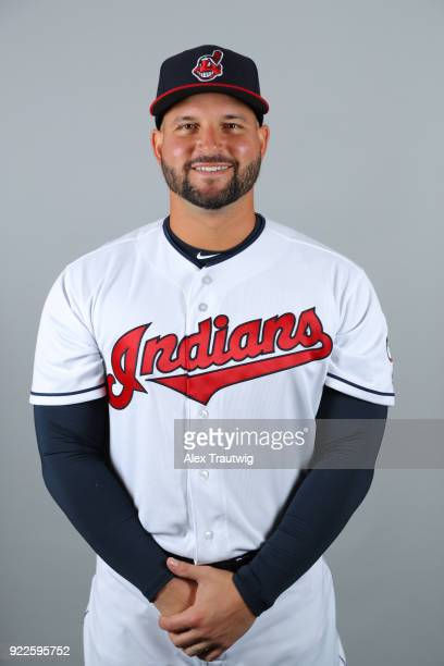 Yonder Alonso of the Cleveland Indians poses during Photo Day on Wednesday February 21 2018 at Goodyear Ballpark in Goodyear Arizona