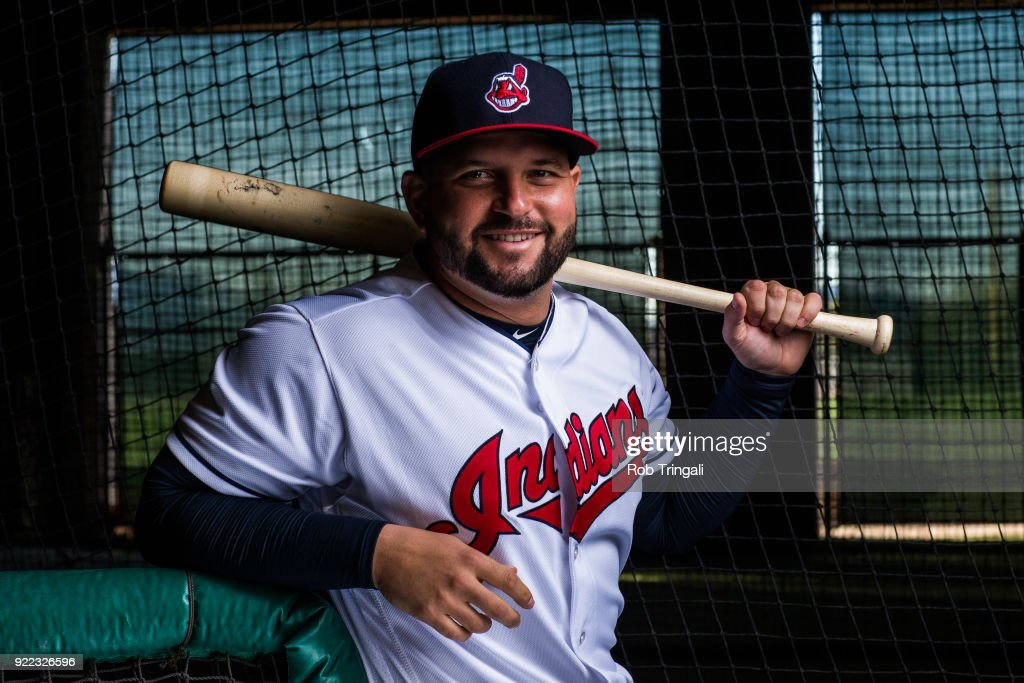 Yonder Alonso of the Cleveland Indians poses for a portrait at the Cleveland Indians Player Development Complex on February 21, 2018 in Goodyear, Arizona.
