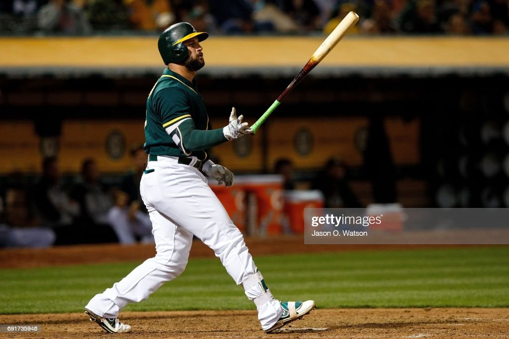 Yonder Alonso #17 of the Oakland Athletics reacts after striking out against the Washington Nationals during the sixth inning at the Oakland Coliseum on June 2, 2017 in Oakland, California. The Washington Nationals defeated the Oakland Athletics 13-3.