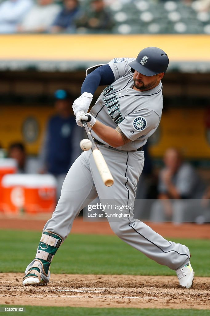 Yonder Alonso #10 of the Seattle Mariners at bat in the fourth inning against the Oakland Athletics at Oakland Alameda Coliseum on August 9, 2017 in Oakland, California.