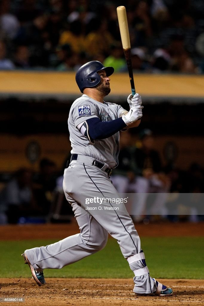 Yonder Alonso #10 of the Seattle Mariners hits a home run against the Oakland Athletics during the fourth inning at the Oakland Coliseum on September 25, 2017 in Oakland, California. The Seattle Mariners defeated the Oakland Athletics 7-1.